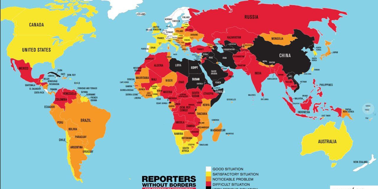 无国界记者:中国新闻自由指数全球倒数第五