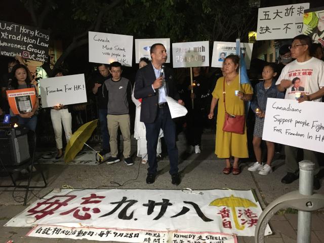 加拿大十多个团体举行烛光祷告会声援香港活动