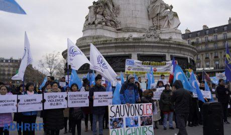 巴黎多团体在共和广场集会声援维吾尔人