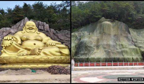 弥勒佛像被封盖前后