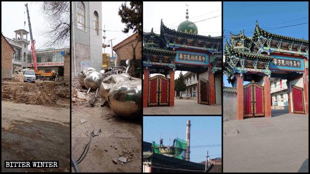 华亭市东大寺、东川寺的圆顶和星月标志被拆除