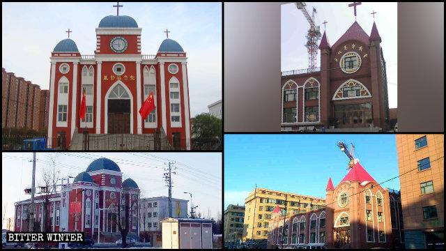 基督福音堂、萝北基督教堂十字架被拆除