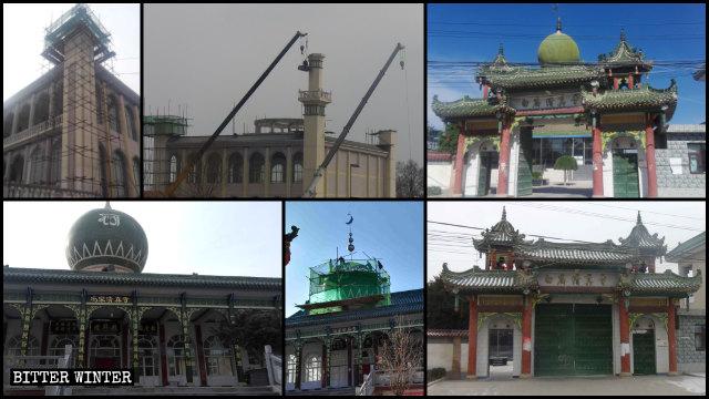 平凉市多处清真寺伊斯兰标志被拆除