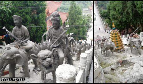 罗汉寺外的21尊罗汉像刚建成不久就被拆除