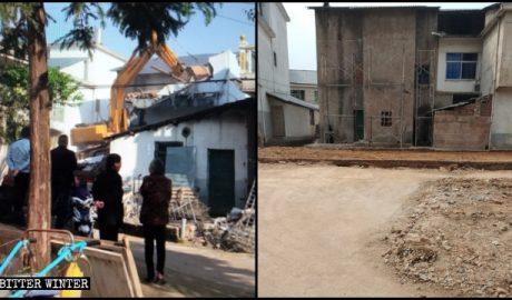 江西省上饶市老地方家庭教会聚会点被夷为平地