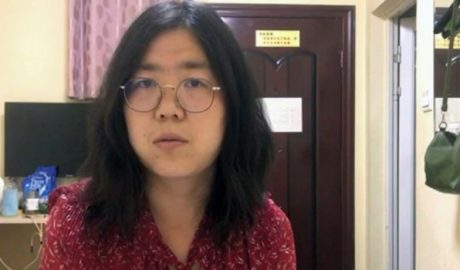 张展在武汉采访新冠疫情,并将视频发到网上。