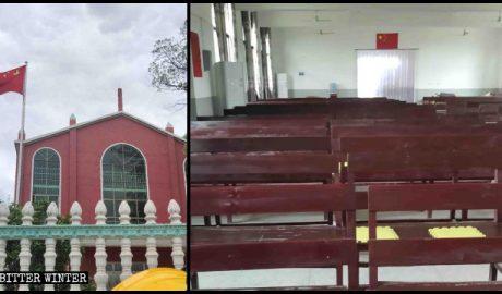 新余市一座三自教堂,只有国旗,没有十字架