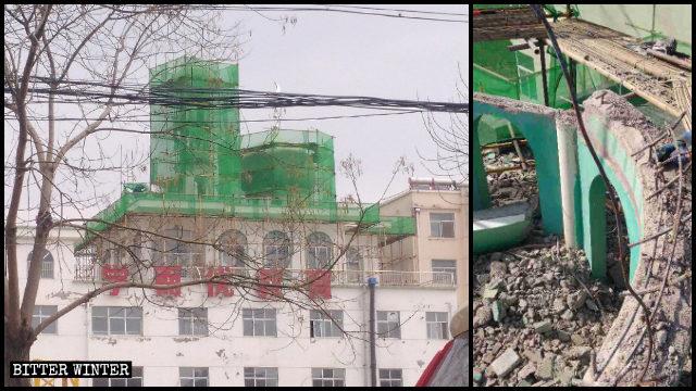 庄浪县水洛清真寺圆顶被拆