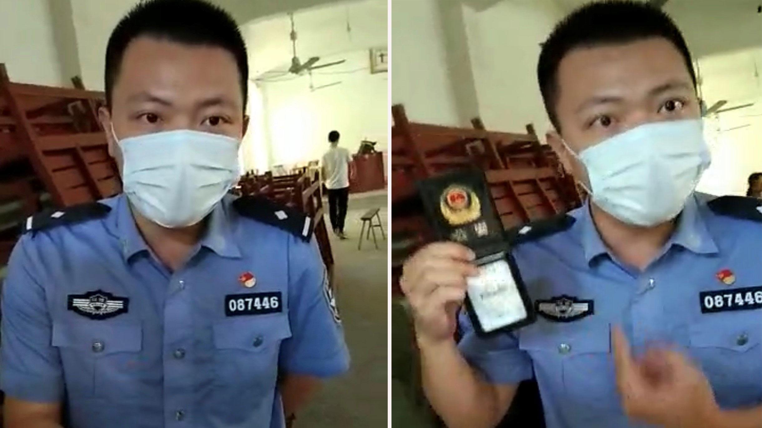 蛟潭派出所吴姓警官,带人清理教堂。