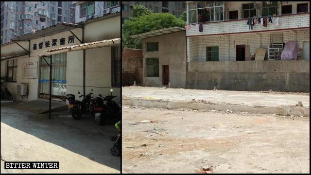 上饶市老地方家庭教会聚会点被拆除前后