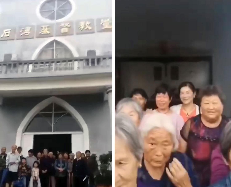 左图:安徽凤台县石湾基督教堂十字架面临强拆。右图:石湾基督教堂信徒守护教堂,拒绝强拆。