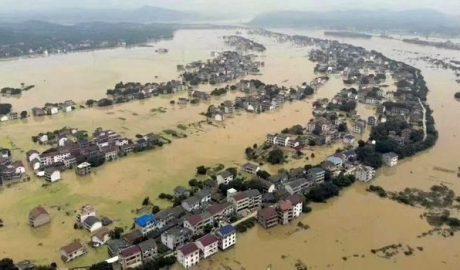 遭受洪灾的湖南衡东地区