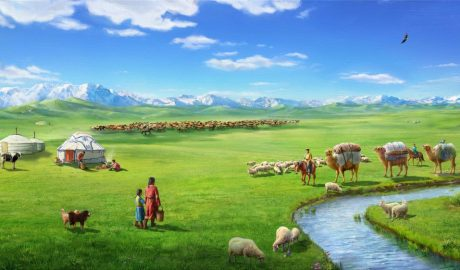 蒙古草原美好的生活