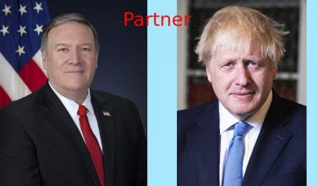 美国国务卿蓬佩奥与英国首相鲍里斯•约翰逊