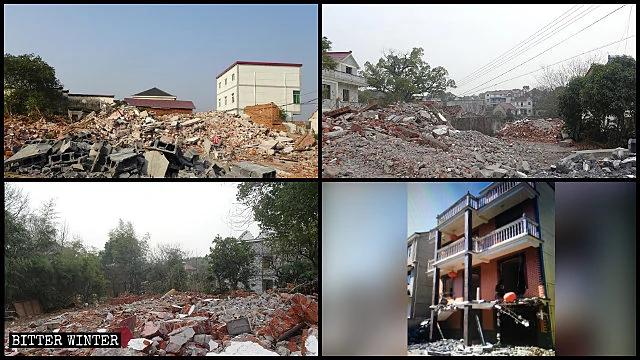 士元实验区多处村民房屋被强拆为废墟