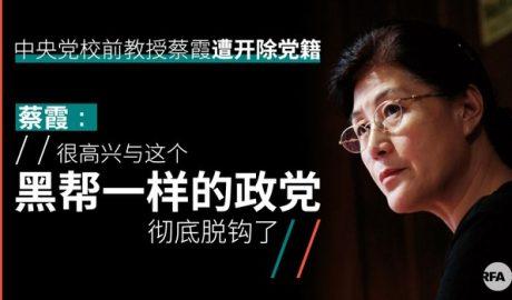 中共中央党校退休教师蔡霞遭开除党籍后,公开表示很高兴能与中共脱钩。