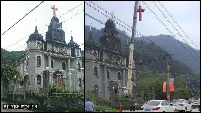 浙江温州暴力强拆两教堂十字架    今年全国已大批十字架遭强拆