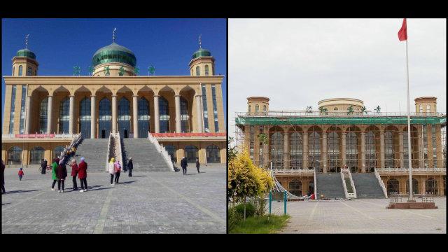 7月,西夏区兴泾镇和清真大寺圆顶被拆除