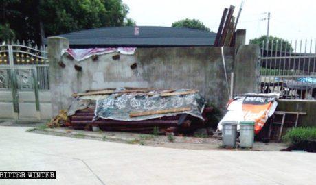 新塍镇被拆毁的家庭教会聚会点外观