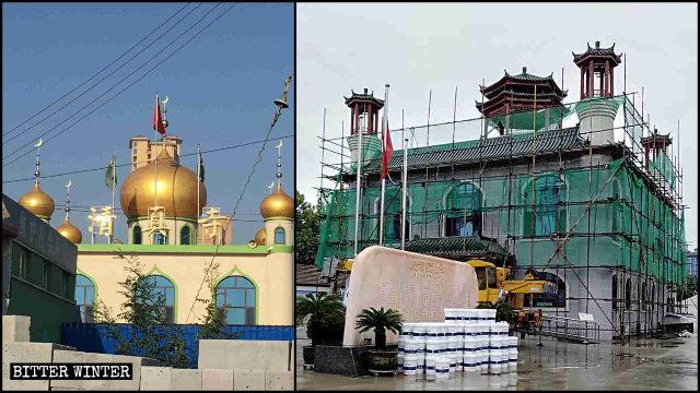 唐山市胥各庄镇清真寺的圆顶被整改成中国式六角亭