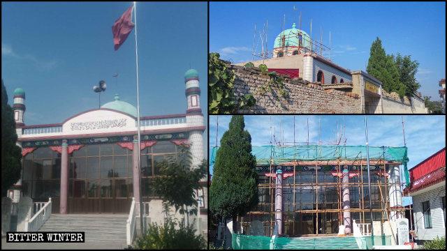 河北定州市叮咛店镇营北庄清真寺圆顶、新月标志等被拆除