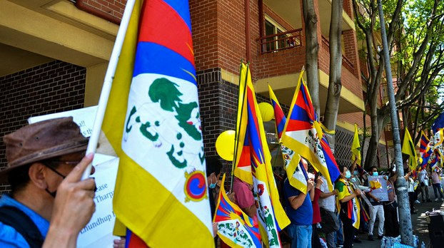 三藏人遭迫害 声援者聚集悉尼中使馆示威