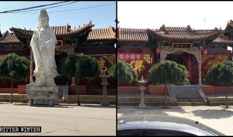 水陆寺院外的一尊菩萨像被拆除