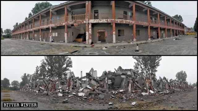 莲花源寺的居士的住处被拆毁前后